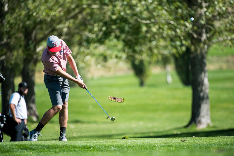 Luke Stout, of Bountiful High, hits from the fairway while working his way to the green <br /> of hole 10 at Eagle Mountain Golf Course, in Brigham City, on September 26, 2016.