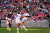 Mikayla Colohan (21), goes up to attempt to head in the ball from a corner kick over the defense of Fremont player, Randie Nicholas (2), during the 5A girls soccer championship at Rio Tinto Stadium in Sandy on October 21, 2016. Colohan was a stand out player in the game and scored a goal late in the first half to seal Davis' win 2-1 over Fremont.