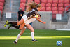 Davis mid fielder, Mikayla Colohan (21), goes airborne after coming into contact with Fremont player, Randie Nicholas (2), at Rio Tinto Stadium in Sandy on October 21, 2016. The penalty would lead to a penalty kick for Davis that Colonna was unable to capitalize on.