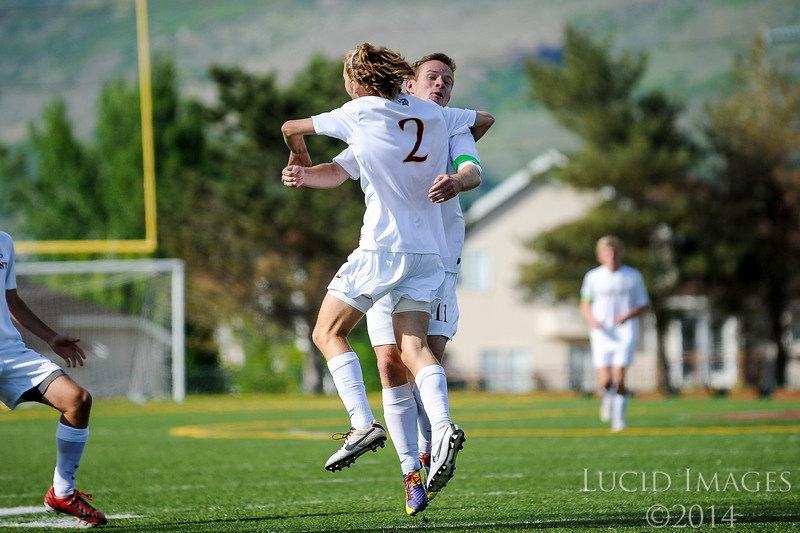 Kade Cummings, #2, celebrates after scoring Viewmont's final goal on their way to a 3-0 victory against American Fork High in the first round of the playoffs at Viewmont High School in Bountiful on May 13, 2014. (ROBBY LLOYD/ Special to the Standard-Examiner)