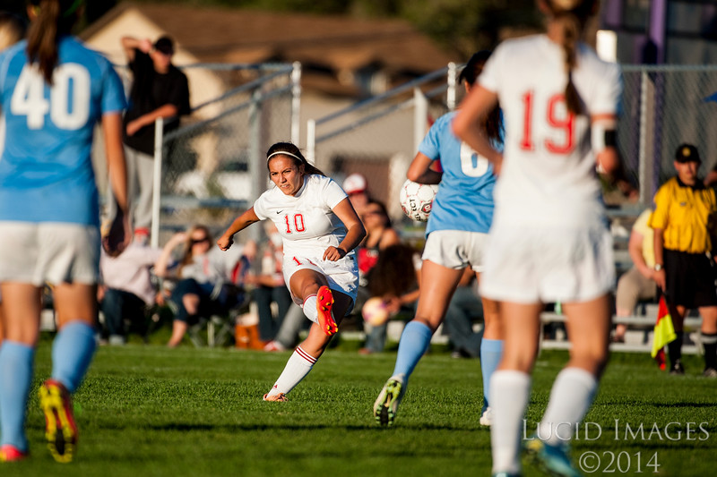 Tamika Rodriguez (10), of Bear River, makes a shot attempt on the goal from about 30 yards out that sailed just over the top goal post against Ben Lomond during the 3-A prep soccer playoffs at Box Elder High School in Brigham City on October 12, 2015. Bear River controlled the tempo much of the game and would win 3-0.