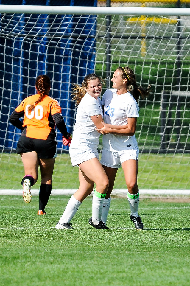 Kenzie Humpherys (left), of Layton High School, celebrates after scoring her second goal of the game against Syracuse High School in the Lancers' 4-2 victory in Layton on September 4, 2014. (ROBBY LLOYD/Standard-Examiner)