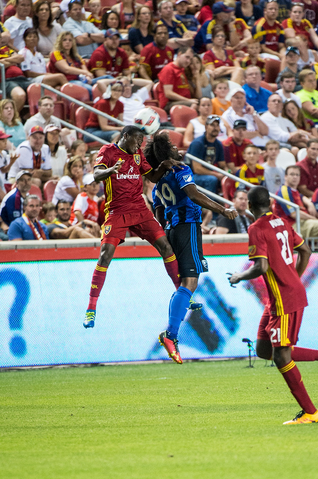 Michael Salazar (19), of the Montreal Impact, goes up for a header to control the ball against Demar Phillips (17), of Real Salt Lake, at Rio Tinto Stadium in Sandy, Utah on July 9, 2016.