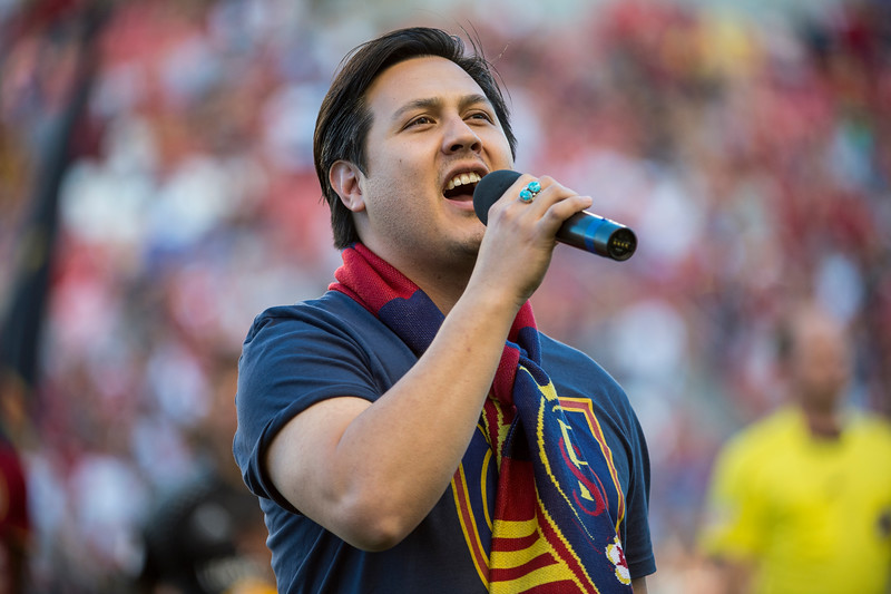 James Singer, of Salt Lake City, sings the Canadian National Anthem during the pre game ceremonies of the Montreal Impact at Real Salt Lake soccer match at Rio Tinto Stadium in Sandy, Utah on July 9, 2016.