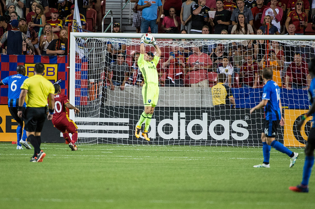 Evan Bush (1), of the Montreal Impact makes a save on the goal against the Real Salt Lake at Rio Tinto Stadium in Sandy, Utah on July 9, 2016.