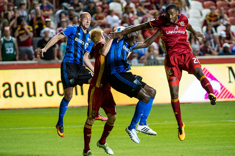 Laurent Ciman (23) and Hassoun Camara (6), of Montreal, battle it out for a chance on the goal against the defense of Justen Glad (15) and Aaron Maund (21), of Real Salt Lake, at Rio Tinto Stadium in Sandy, Utah on July 9, 2016.