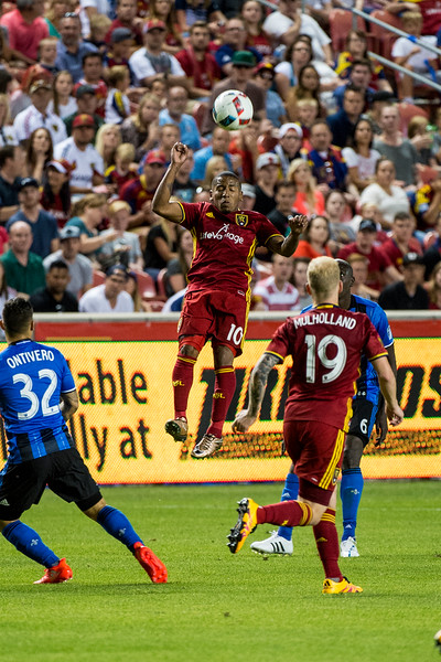 Joao Plata (10), of Real Salt Lake, goes up for a header to control the ball against the Montreal Impact, at Rio Tinto Stadium in Sandy, Utah on July 9, 2016.