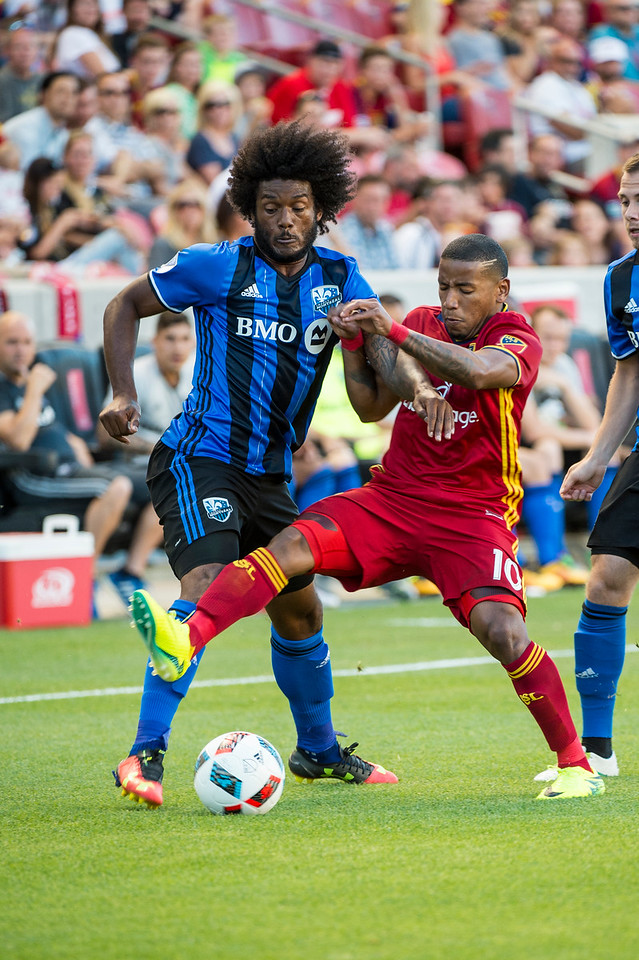 Michael Salazar (19), of the Montreal Impact, fights for control of the ball against Joao Plata (10), of Real Salt Lake, at Rio Tinto Stadium in Sandy, Utah on July 9, 2016.