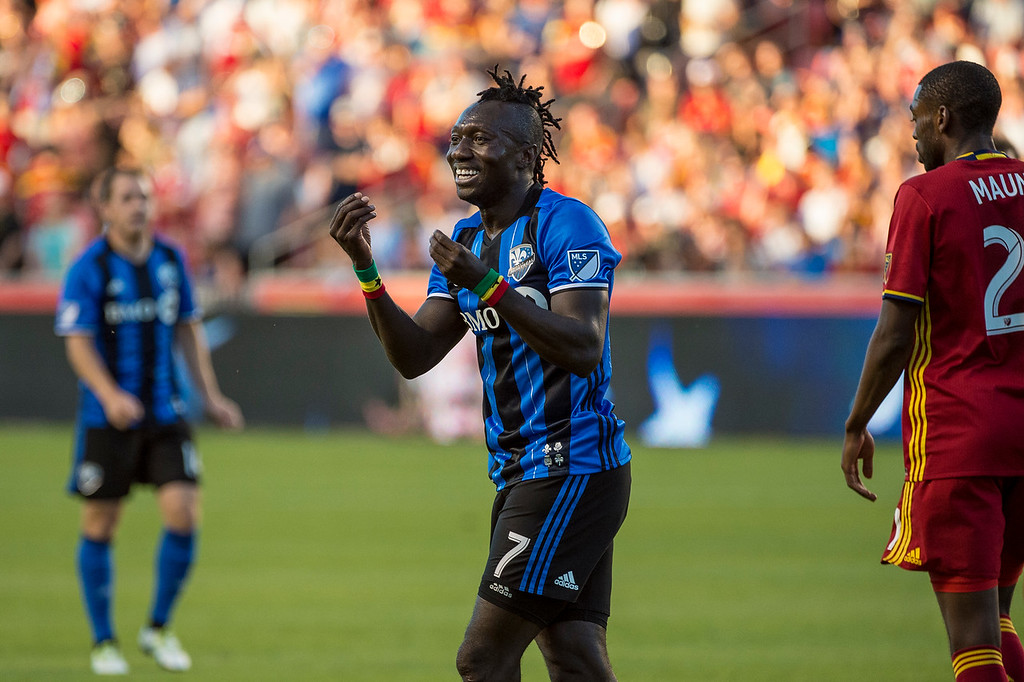 Dominic Oduro (7), of the Montreal Impact, reacts after what he believed to be a missed a call by the officials in the goal box of Real Salt Lake at Rio Tinto Stadium in Sandy, Utah on July 9, 2016.