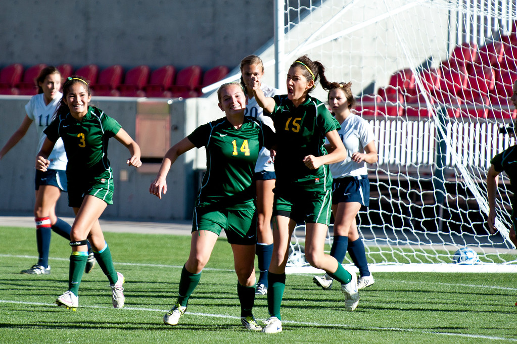 Katie Panushka of St. Joseph High School celebrates after scoring the Jayhawks only goal during their loss to Waterford High School at Rio Tinto Stadium. (ROBBY LLOYD/Special to the Standard-Examiner)