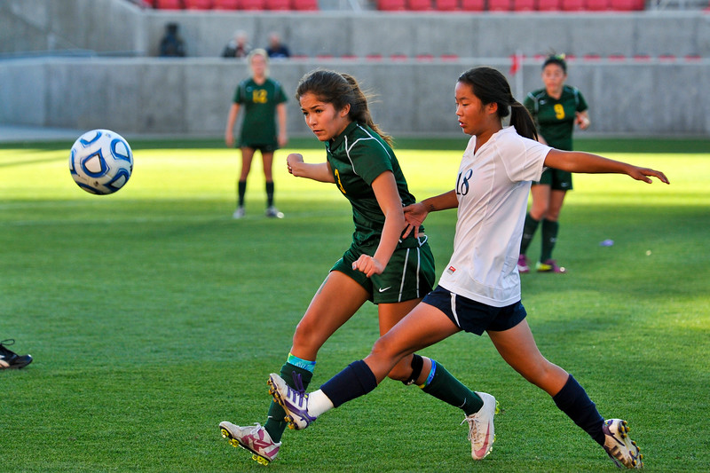 Deija Trujillo of St. Joseph High School tries to outmaneuver Emi Anderson during their loss to Waterford High School at Rio Tinto Stadium. (ROBBY LLOYD/Special to the Standard-Examiner)