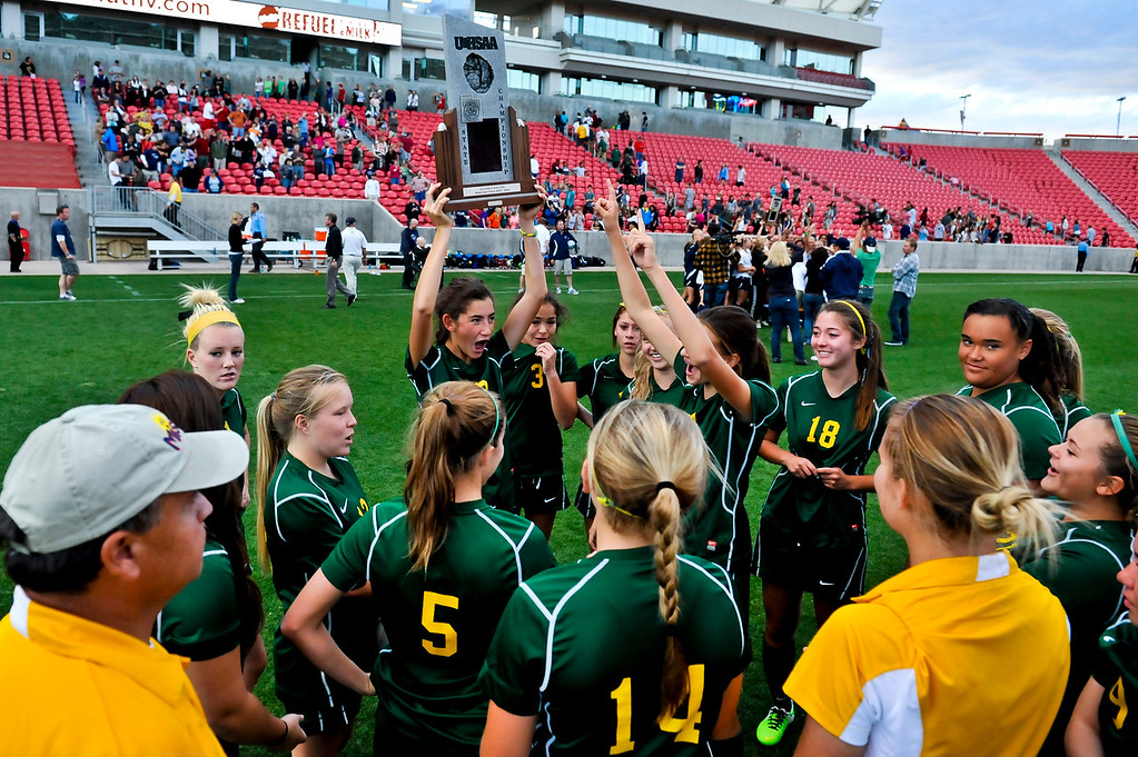 The St. Joseph Jayhawks cheer for their second place trophy in the 2A State Soccer Championship at Rio Tinto Stadium. (ROBBY LLOYD/Special to the Standard-Examiner)
