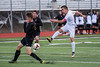 Hannu Willey (4), of Viewmont High, steps up to block the shot attempt of Davis player, Colton Harrison (7), at Davis High School, in Kaysville, on Tuesday, April 25, 2017. Viewmont had many good looks at the goal and finally got one past the Davis defense and winning 1-0.