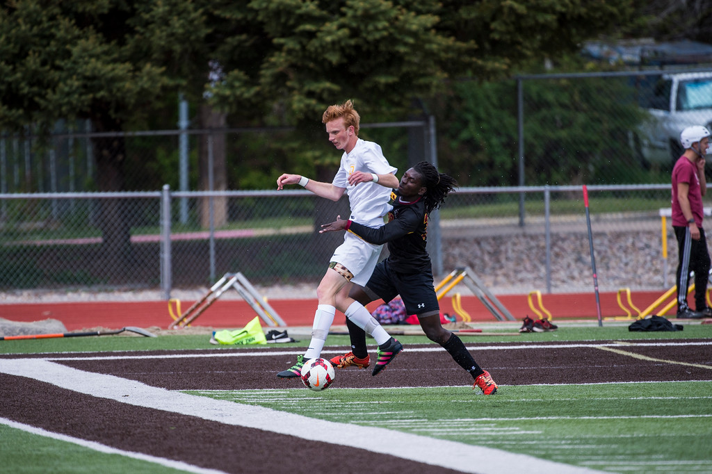 Viewmont outpaced Davis High's shots on the goal and finally got a goal past the great defense of Davis goalie Tanner Kennard (1) late in the second half to come out with the 1-0 win at Davis High School, in Kaysville, on Tuesday, April 25, 2017.