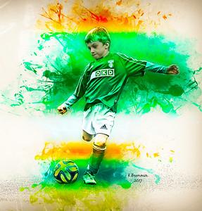 Green Young Boy Footballer 1