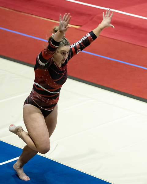 The Ball State Women Gymnastics won their match against Illinois State on January 31, 2021. Final score 194.425 to 187.975. Photo by Tony Vasquez for Indy Sports Daily
