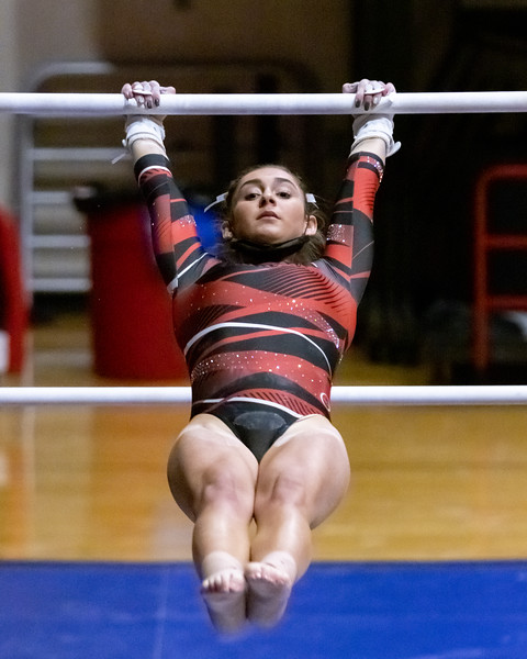 Marissa Nychyk scored a 9.750 on bars. The Ball State Women Gymnastics won their match against Illinois State on January 31, 2021. Final score 194.425 to 187.975. Photo by Tony Vasquez for Indy Sports Daily