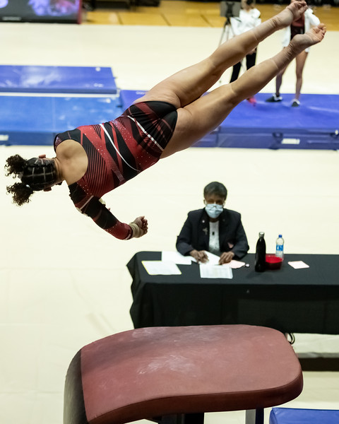 Victoria Henry scored a 9.800 on vault. The Ball State Women Gymnastics won their match against Illinois State on January 31, 2021. Final score 194.425 to 187.975. Photo by Tony Vasquez for Indy Sports Daily