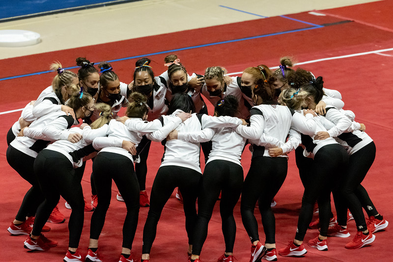 Ball State celebrates seniors in the home finale on February 28, 2021. Final Score BSU 194.225 and WMU 194.300. Photo by Tony Vasquez for Indy Sports Daily.