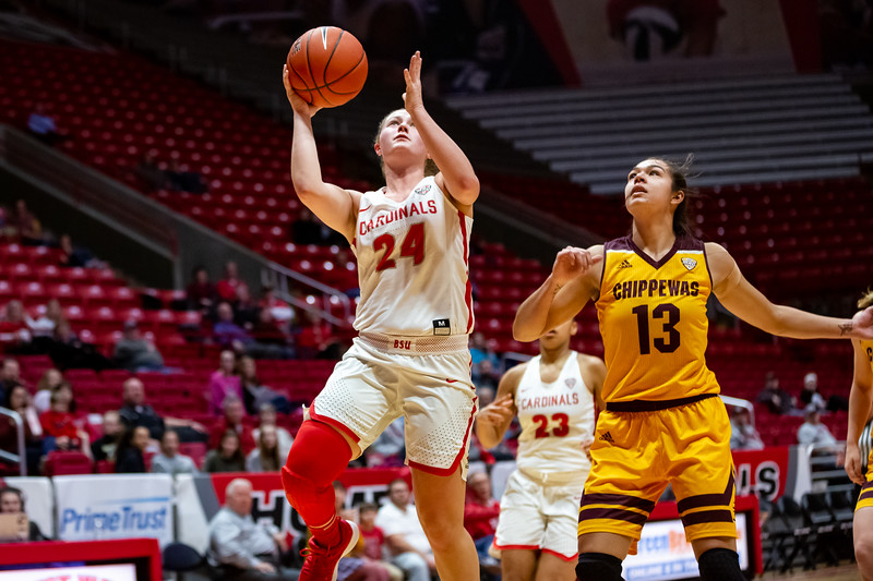 Ball State University women's basketball vs. Central Michigan University at Worthen Arena on February 27, 2019. Final score CMU 81 - BSU 64. Photo by Tony Vasquez for Indy Sports Daily.