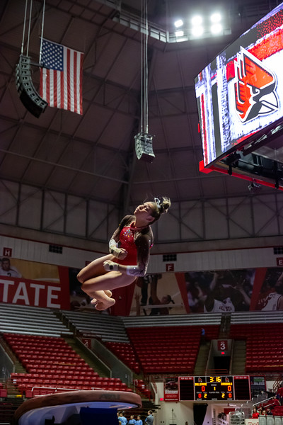 Ball State Cardinals vs. North Carolina at Worthen Arena in Muncie, Indiana. Final Score BSU 195.850/North Carolina 195.375. Photo by Tony Vasquez for Indy Sports Daily.
