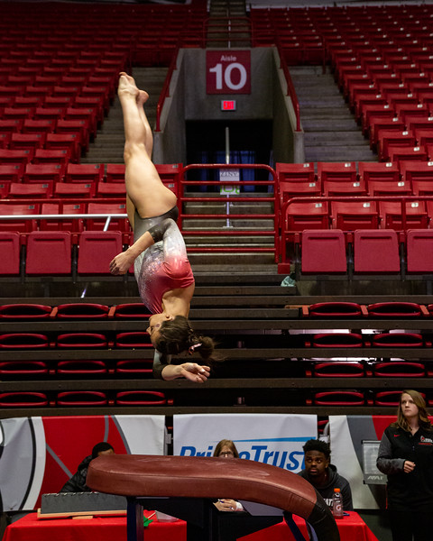 Ball State Cardinals vs. Southeast Missouri & Illinois State at Worthen Arena in Muncie, Indiana. Final Score BSU 194.575 /IS 194.250/ S.E. Missouri 186.900.  Photo by Tony Vasquez for Indy Sports Daily.