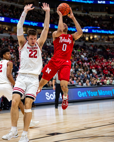 Nebraska vs Wisconsin at the United Center in Chicago, Illinois on March 15, 2019. Final score Wisconsin 66 - Nebraska 62. Photo by Tony Vasquez for Indy Sports Daily.