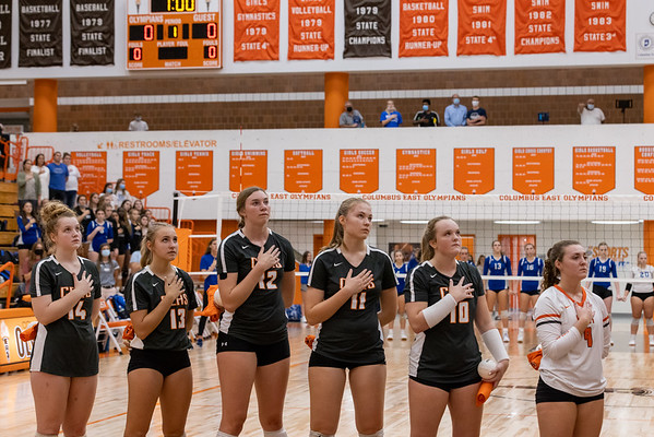 The Columbus East vollyball team during the national anthem. Photo by Tony Vasquez for Indy Sports Daily.