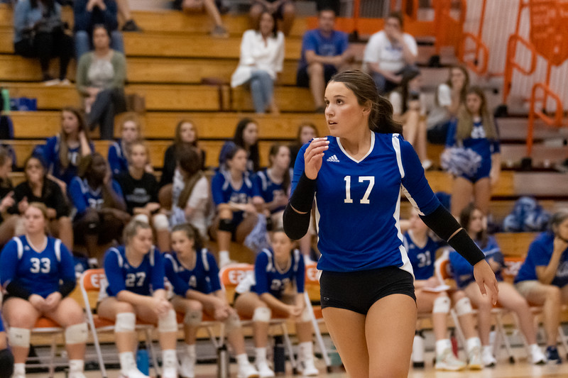 Senior Sydney Cooper after her service volley on September 30, 2021. Photo by Tony Vasquez for Indy Sports Daily.