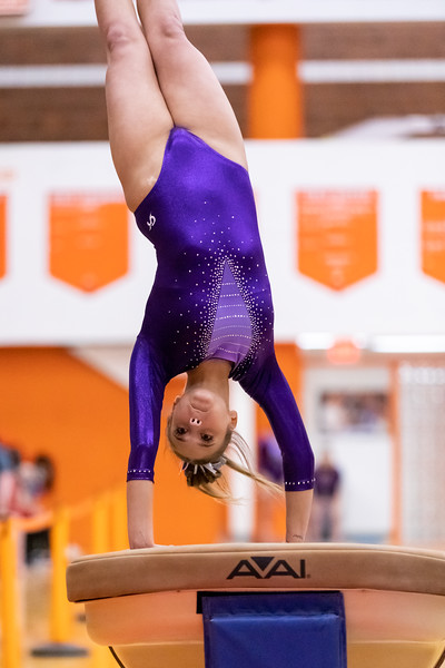 The Seymour Owls competing on the vault at Columbus East High School in Columbus, Indiana, Friday, February 26, 2021. Team score on vault was 25.65. Photo by Tony Vasquez for Indy Sports Daily.