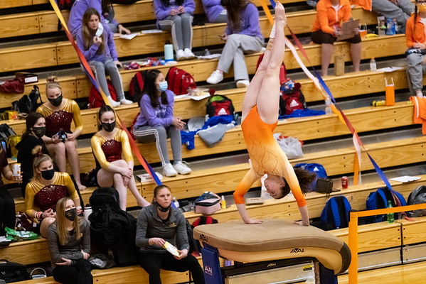 Columbus East competing on the vault at Columbus East High School in Columbus, Indiana, Friday, February 26, 2021. Team score on vault was 25.7. Photo by Tony Vasquez for Indy Sports Daily.