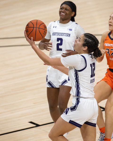 Northwestern defeats Illinois in the Women's Big Ten Tournament on March 10, 2021, by the final score of 67 - 42. Photo by Tony Vasquez for Indy Sports Daily.