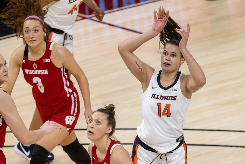 Illinois defeats Wisconsin in the opening round of the Women's Big Ten Tournament on March 9, 2021, by the final score of 67 - 42. Photos by Tony Vasquez for Indy Sports Daily.