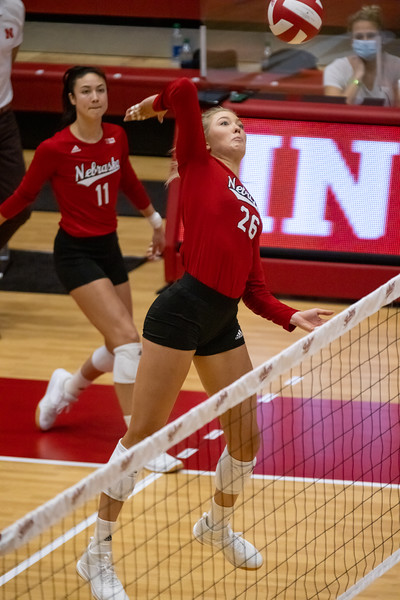 Indiana Women's Volleyball drops their home season opener to Nebraska in three straight sets on January 22, 2021. Photo by Tony Vasquez for Indy Sports Daily.