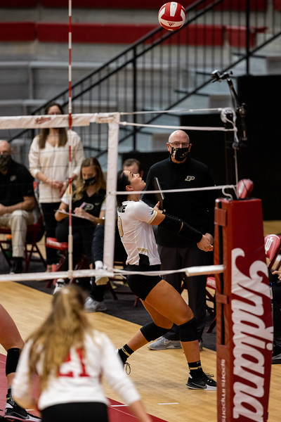 Purdue cruises past Indiana in three straight sets on February 23, 2021. Set one: 20-25, two: 17-25, three 14-25. Photo by Tony Vasquez for Indy Sports Daily.