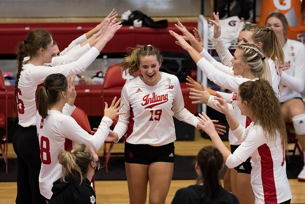 Indiana University women's volleyball falls to Wisconsin in three straight sets on February 12, 2021. Photo by Tony Vasquez for Indy Sports Daily.