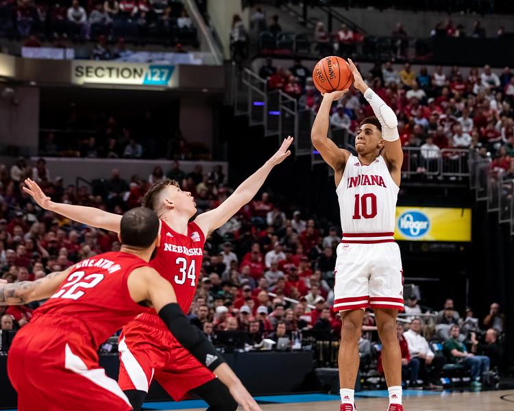 Indiana vs Nebraska at Bankers Life Fieldhouse in Indianapolis, Indiana on March 11, 2020. Final score Indiana 89 – Nebraska 64. Photo by Tony Vasquez