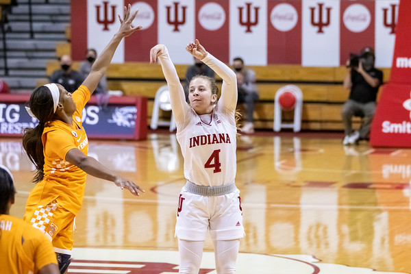 The Indiana Women Hoosiers fall to the Tennessee Lady Vols 66 - 58 in Bloomington on December 17, 2020. Photo by Tony Vasquez for Indy Sports Daily