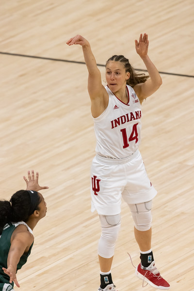 Michigan State upsets Indiana 69-61 at the Women's Big Ten Tournament on March 11, 2021. Photo by Tony Vasquez for Indy Sports Daily.