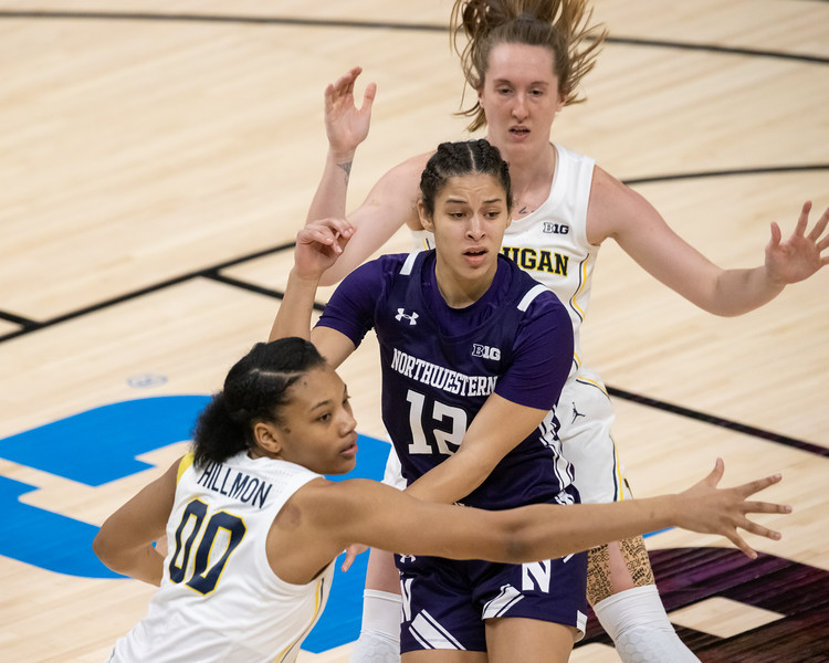 Northwestern vs Michigan in the Women's Big Ten Tournament on March 11, 2021, by the final score of 65 - 49. Photo by Tony Vasquez for Indy Sports Daily.