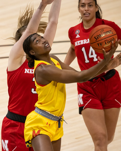 Maryland defeats Nebraska in the Women's Big Ten Tournament on March 11, 2021, by the final score of 83 - 73. Photo by Tony Vasquez for Indy Sports Daily.