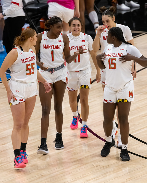 Maryland defeats Northwestern in the Women's Big Ten Tournament on March 12, 2021, by the final score of 85 - 52. Photo by Tony Vasquez for Indy Sports Daily.