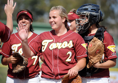 Feb 29, 2008; Carson, CA, USA; Cal State Dominguez Hills Toros pitcher Kaci Carroll (2) celebrates with teammates during the game against San Francisco State at Toro Diamond. Mandatory Credit: Kirby Lee/Image of Sport-US PRESSWIRE