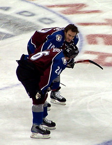 Joe Sakic and John-Michael Liles when Liles still wore #26 before he gave it to Peter Stastny.