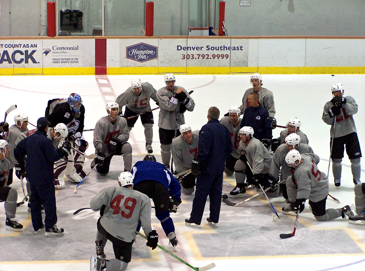 Joe Sakic is the second one standing from the right.  Training camp.  Great place to see the rising stars.