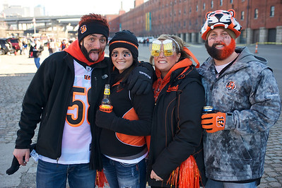 Jesse George and Megan Latham of Florence with Lacey and Tyler Middlesworth of Hebron at Longworth hall tailgating before the Bengals game