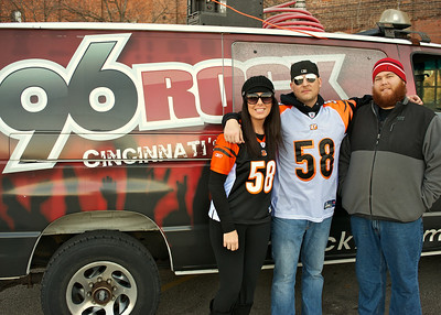 Haley McNamee of Newport with JD and Casey of 96ROCK at Longworth hall tailgating before the Bengals game