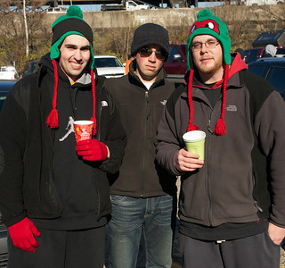 Matt North of Hilliard, Todd Marier of Worthington and Tyler Minshall of Plain City at Longworth hall tailgating before the Bengals game