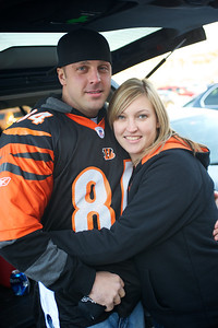 Christian Rogers of Austin, TX and Lauren Stuart from Dayton at Longworth hall tailgating before the Bengals game