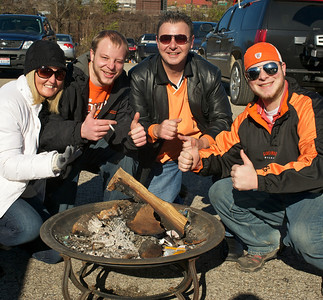 Julie, Johnny, Philip and Paul Eggleston of NKY celebrate Johnny's birthday at Longworth hall tailgating before the Bengals game